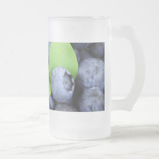 Blueberries Frosted Glass Beer Mug