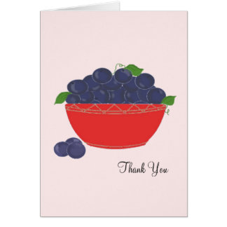 Blueberries in a Red Dish Thank You Card