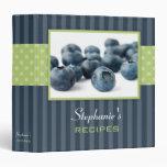Blueberries Polka Dot Stripe Recipe 3 Ring Binder