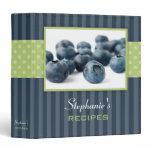 Blueberries Polka Dot Stripe Recipe Binder