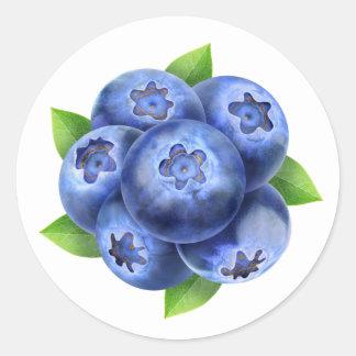 Blueberries round composition classic round sticker