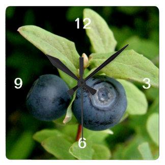 Blueberries, Vaccinium ovalifolium Square Wall Clock