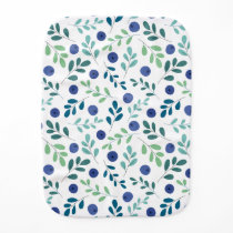 Blueberries with Green Leaves Pattern Baby Burp Cloth