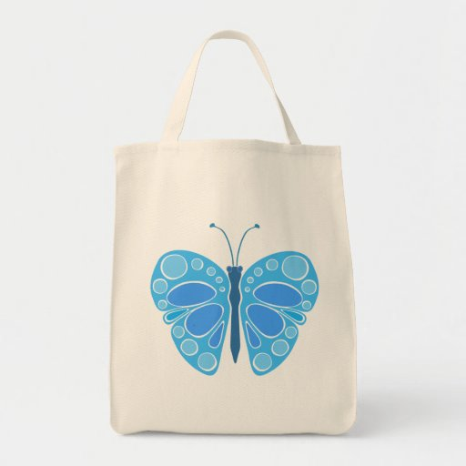 Blueberry 60s Whimsical Butterfly Tote Bag