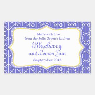 Blueberry and lemon jam blue food label sticker