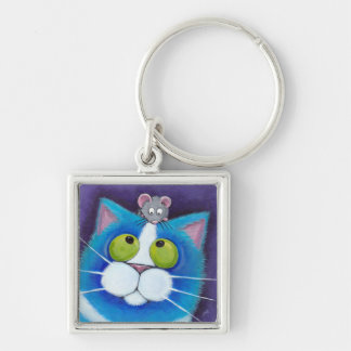 Blueberry and Wee Mousey | Cat Art Keychain