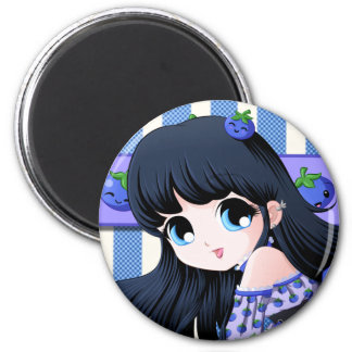 Blueberry Anime Buttons 2 Inch Round Magnet