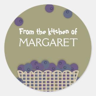 blueberry basket baking kitchen gift stickers, ... classic round sticker