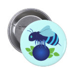 Blueberry Bee Pinback Buttons