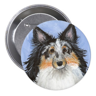 Blueberry Blue Merle Sheltie by Amy Bolin Button