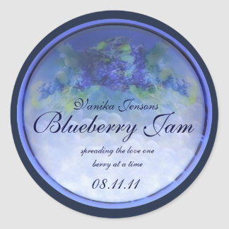 Blueberry Canning Label 1 Classic Round Sticker