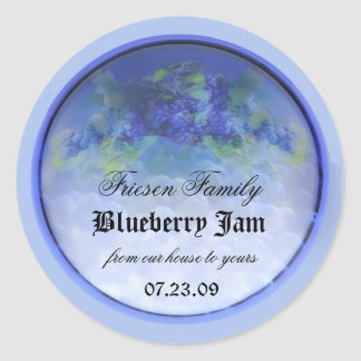Blueberry canning label 3 round stickers