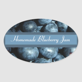 Blueberry Canning Label Oval Sticker