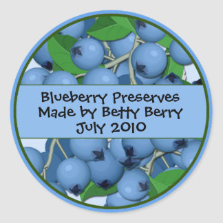 Blueberry Canning Labels Round Stickers