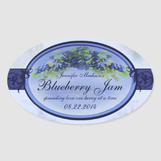 Blueberry cannning label 3a oval sticker