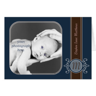 Blueberry Classic Harvest Monogram Note Cards