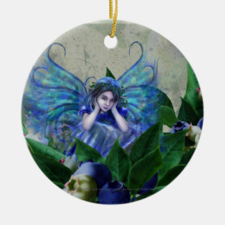 Blueberry Fairy Double-Sided Ceramic Round Christmas Ornament