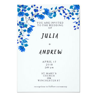 Blueberry Floral Watercolor Wedding Invite
