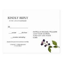 Blueberry | Floral Wedding  RSVP MEAL CHOICE Postcard