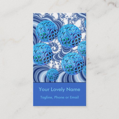 Blueberry Flutes, Abstract Periwinkle Blue Spiral Business Card