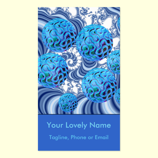 Blueberry Flutes, Abstract Periwinkle Blue Spiral Double-Sided Standard Business Cards (Pack Of 100)