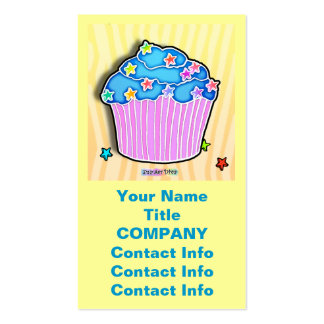 Blueberry Frosted CUPCAKE BUSINESS CARDS in Lemon
