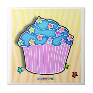 Blueberry Frosted Cupcake Tile