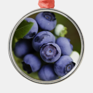 blueberry lover round metal christmas ornament