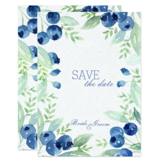 Blueberry Midsummer Rustic Wedding SAVE the Date Card