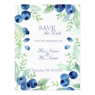Blueberry Midsummer Rustic Wedding SAVE the Date Postcard