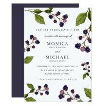 Blueberry Modern botanical wedding Invitation