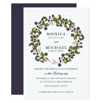 Blueberry | Modern botanical wedding Invitation