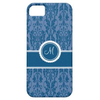 Blueberry Monogrammed Damask iPhone 5 Case
