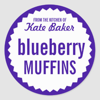 Blueberry Muffin Bake Sale Label Template Stickers