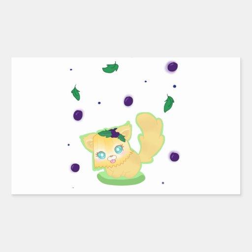 Blueberry Muffin Kitty Rectangular Stickers