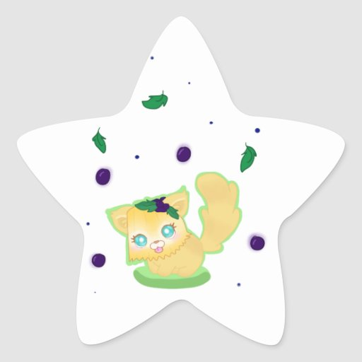 Blueberry Muffin Kitty Star Stickers