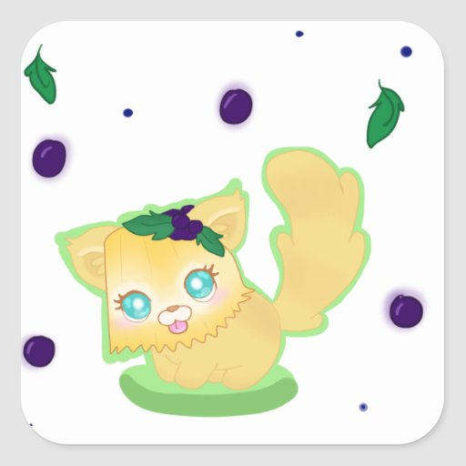 Blueberry Muffin Kitty Square Sticker