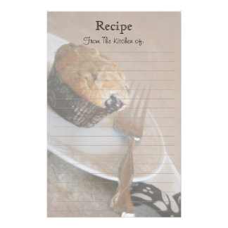 Blueberry Muffin Lined Recipe Stationery