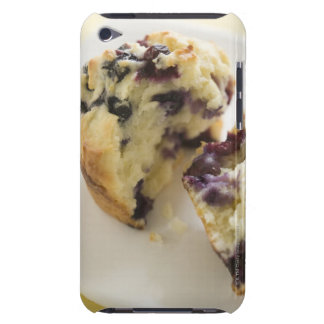 Blueberry muffin split open on a white plate iPod Case-Mate cases