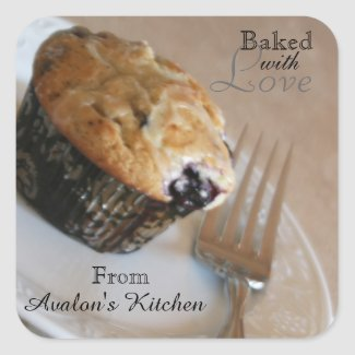 Blueberry Muffin Square Baking Stickers