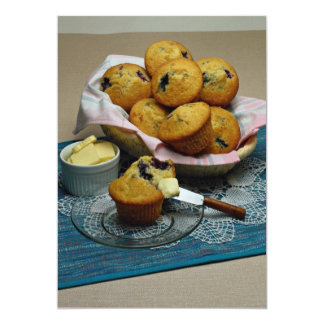 "Blueberry muffins 5"" x 7"" invitation card"