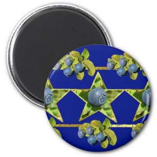 Blueberry Ornate Garland Pattern 2 Inch Round Magnet