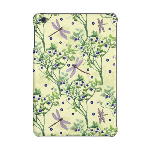 Blueberry pattern with dragonflies iPad mini case
