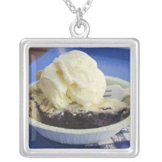 Blueberry pie a la mode square pendant necklace