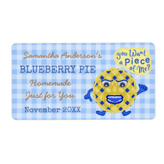 Blueberry Pie or Jam Funny Homemade Dessert   Name Label