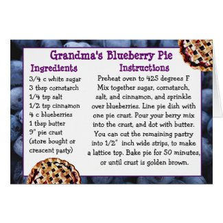 Blueberry Pie REcipe Card