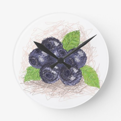 blueberry round clock
