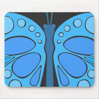 Blueberry Sky 60s Butterfly Mouse Pad