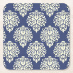 Blueberry Southern Cottage Damask Square Paper Coaster