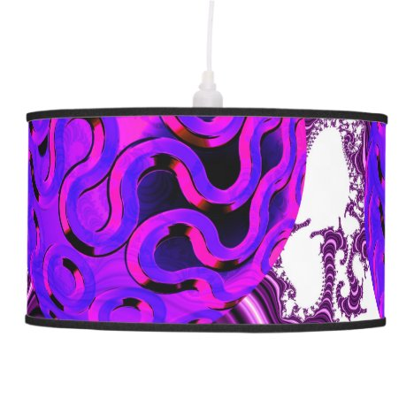 Blueberry Splash, Abstract Fractal Purple Fruit Hanging Lamp